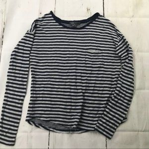 Vince. Long sleeve blue gray stripe crewneck shirt